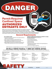 Image Confined Space Permit Required Poster